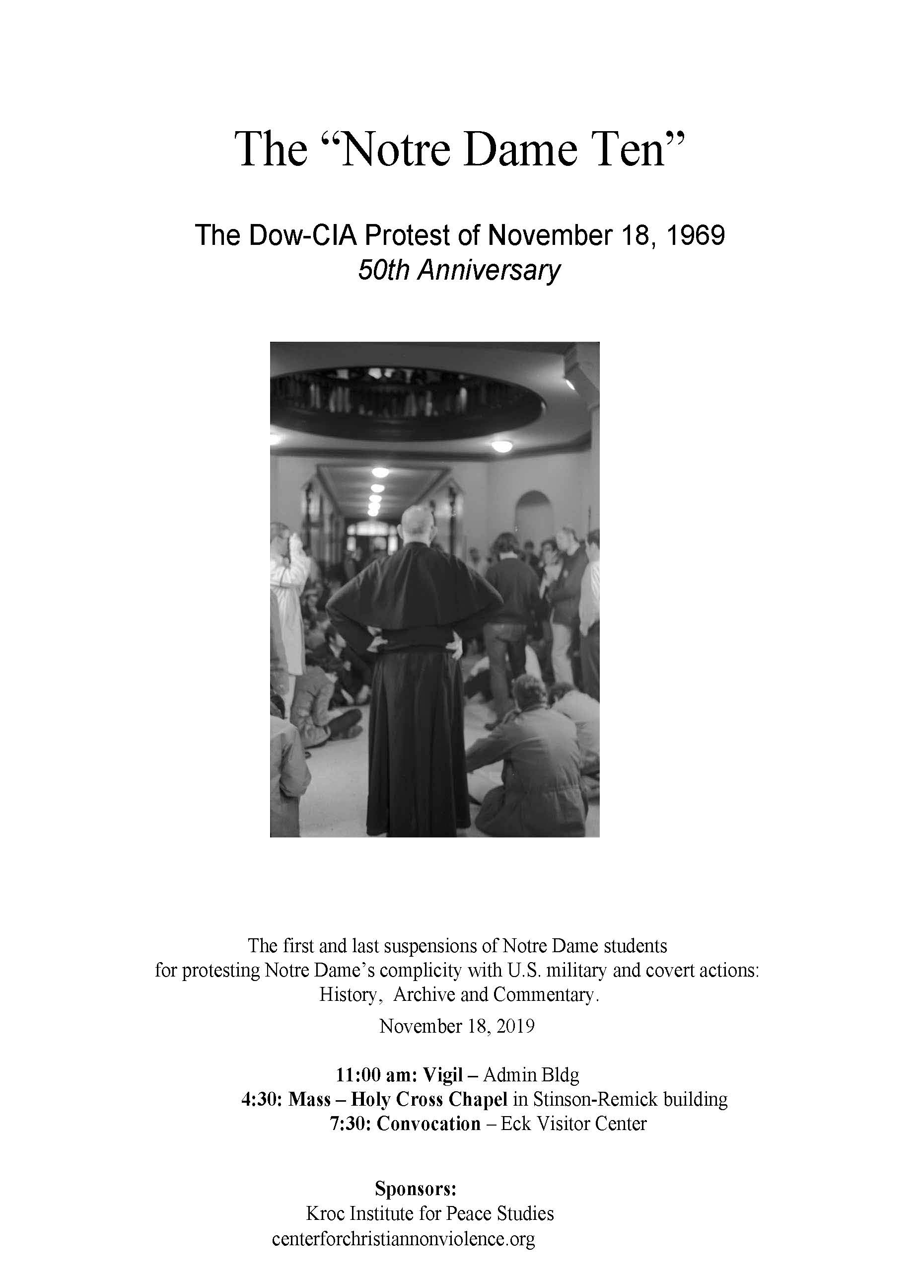 The Notre Dame Ten: The Dow-CIA Protest of November 18, 1969 - Publication (PDF) by Mark J. Mahoney